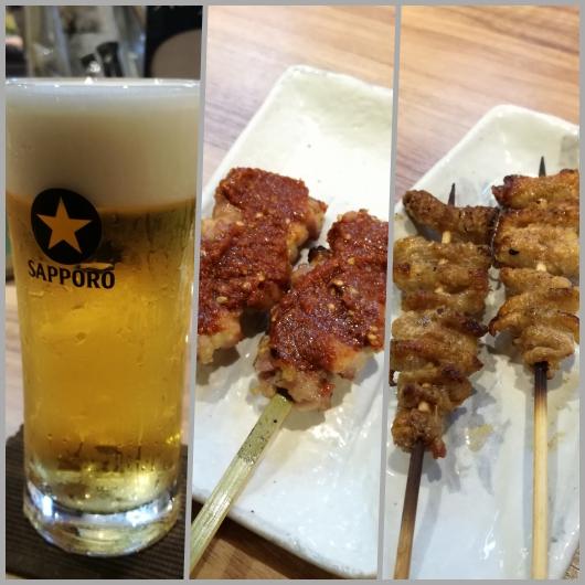 """""""頂"""" で頂いたビールと焼き物"""