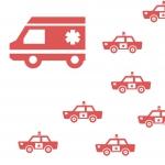 パトカーから逃げる偽救急車
