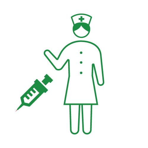 看護師さんと注射