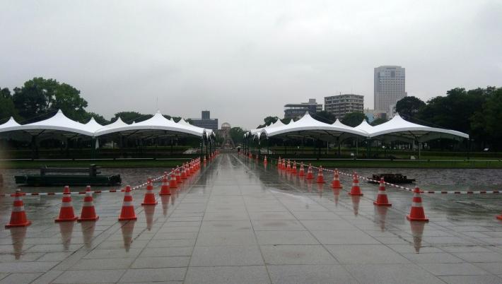 平和記念公園、式典の準備中