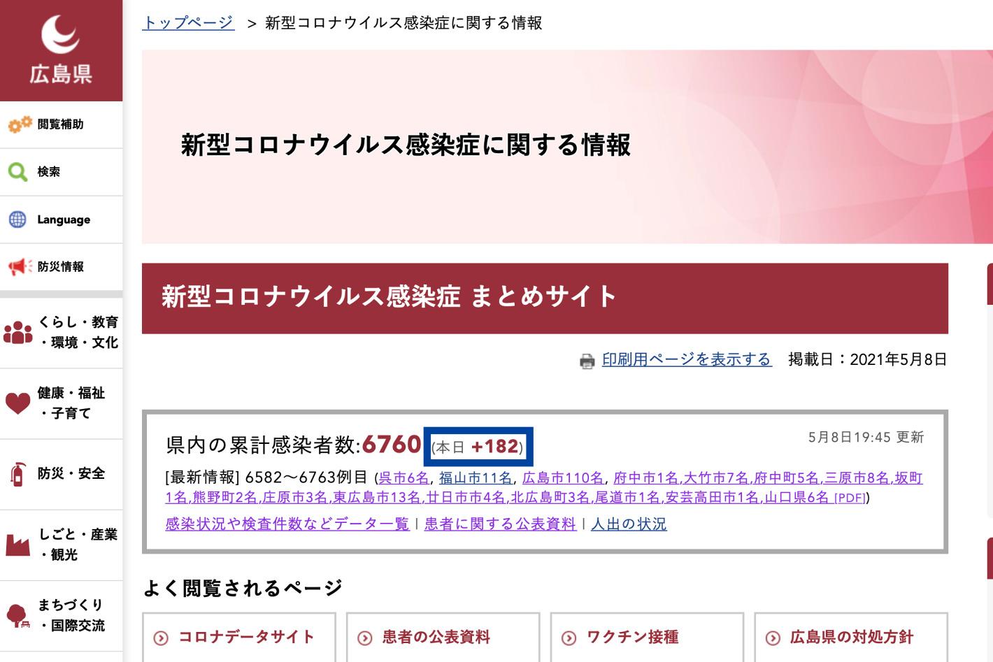 広島県のホームページ